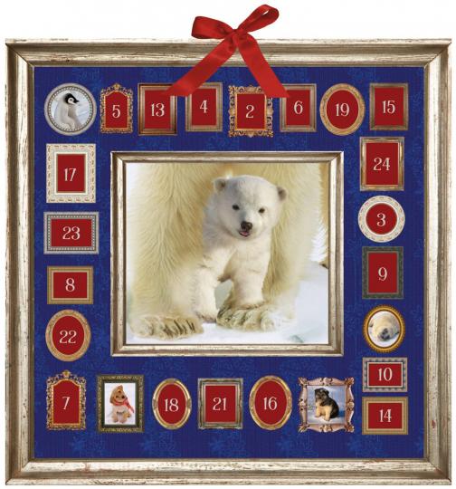 Tierkinder im Schnee. Adventskalender.