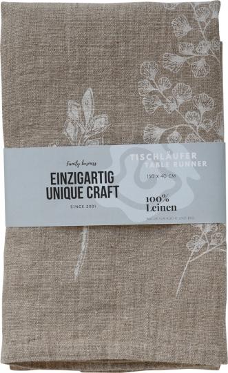 Tischläufer Leinen »Blättermotiv«, naturfarben.