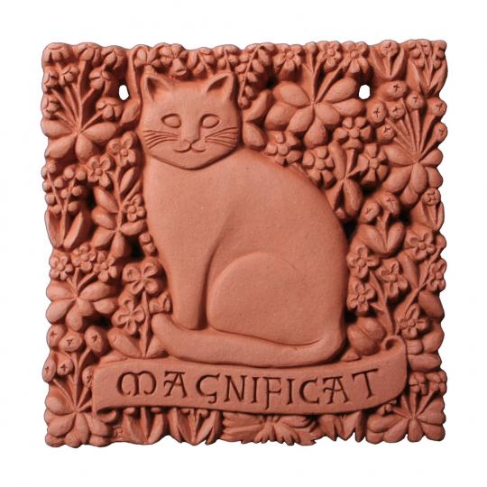 Wandfliese Terracotta mit Katze »Magnificat«.