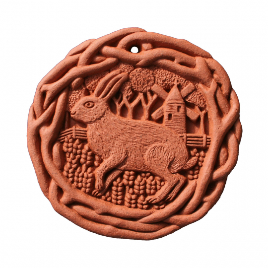 Wandfliese Terracotta »Brauner Hase«.
