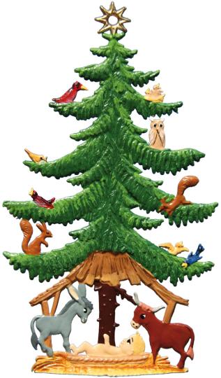 Weihnachtsbaum mit Tieren.