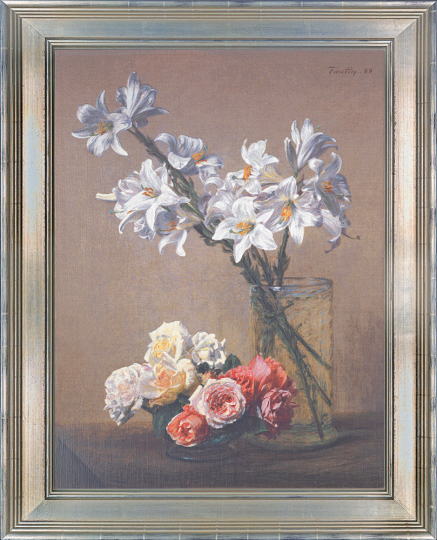 Weiße Lilien in Glasvase. Henri de Fantin-Latour (1836-1904).