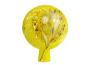 Glaskugel für den Garten, gelb und bunt getupft. Bild 1