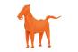 Stift- und Zettelhalter Pferd, orange. Bild 1