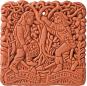 Terracotta Wandfliese. Mittelalterlicher Garten. Bild 1